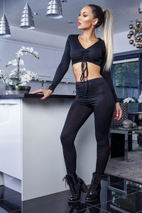 Black Rib Knit Ruched Front Long Sleeve Crop Top & Leggings Lounge Set
