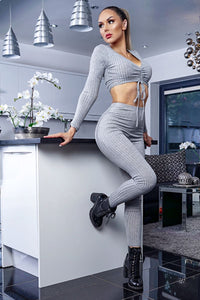 Grey Rib Knit Ruched Front Long Sleeve Crop Top & Leggings Lounge Set