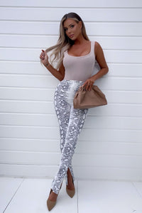 White Snake Print Front Split Trousers