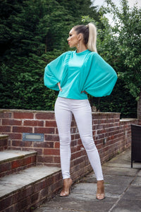 Mint Batwing Chiffon Sleeve High Neck Blouse