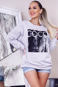 Grey Coco Print Oversized Sweatshirt