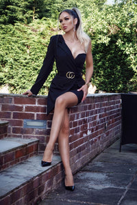 Black Asymmetric Sleeve Belted Mini Blazer Dress