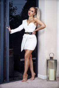 White Asymmetric Sleeve Belted Mini Blazer Dress