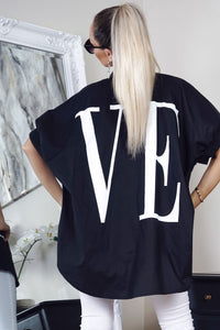 Black Love Print Loose Fit Short Sleeve Shirt
