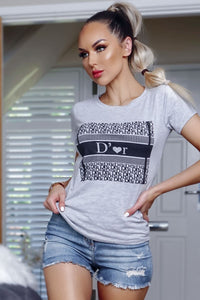 Grey D'Or Print T Shirt