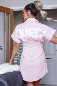 Pink Queen Slogan Pin Tuck Waist Over Size Shirt