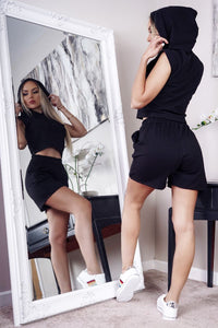 Black Hooded Crop Top & Shorts Co Ord Set