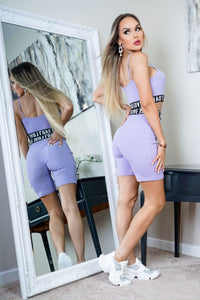 Lilac Love Print Elasticated Hem Rib Crop Strap Top & Cycling Shorts Co Ord Set