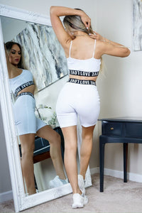 White Love Print Elasticated Hem Rib Crop Strap Top & Cycling Shorts Co Ord Set