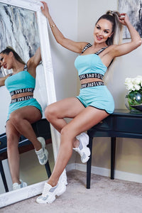 Mint Love Print Elasticated Hem Bra Cup Crop Strap Top & Running Shorts Co Ord Set