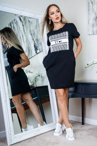Black D'Or Print T Shirt Dress