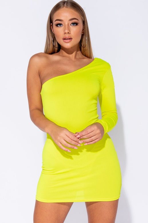 Image: Neon Yellow Long Sleeve Asymmetric One Shoulder Bodycon Dress
