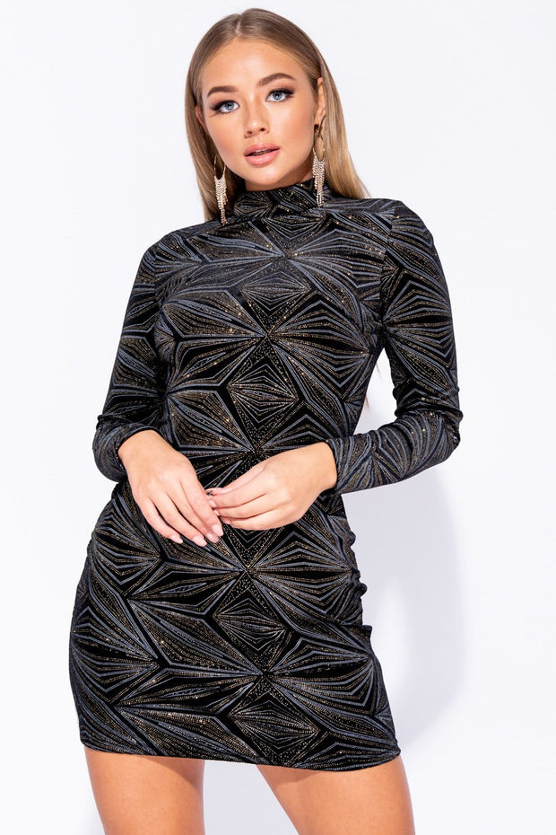 Image: Black Velvet Glitter Print Long Sleeve Bodycon Dress