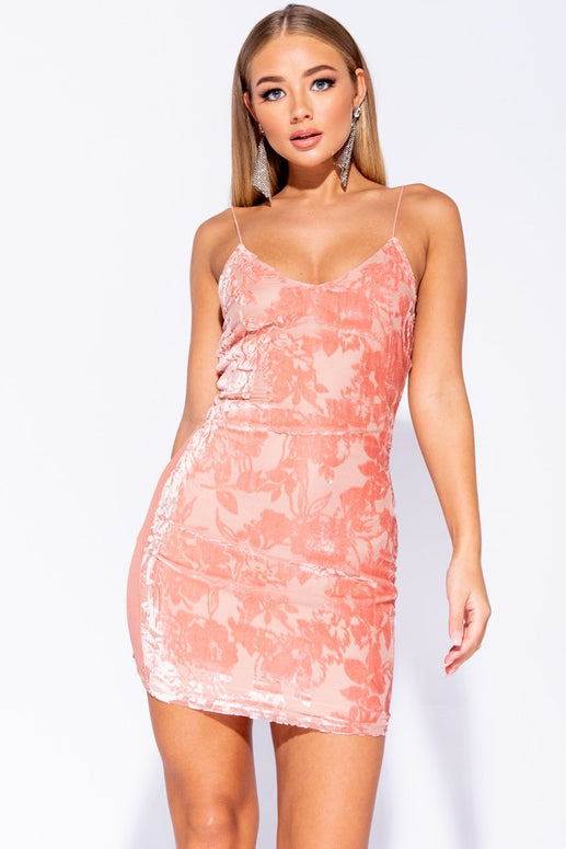 Image: Pink Floral Burn Out Velvet Strappy Bodycon Dress