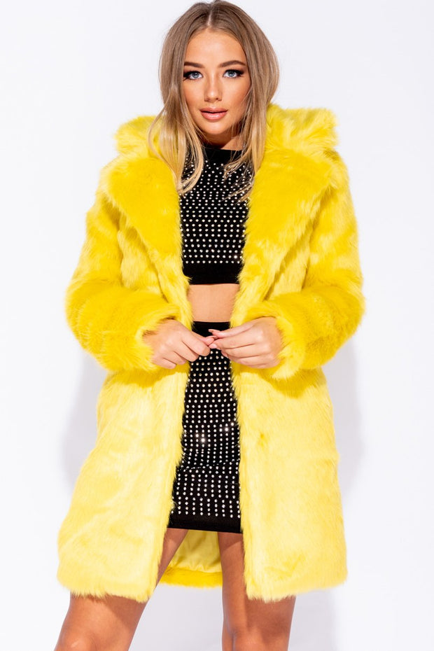 Image: Yellow Mid Length Faux Fur Coat
