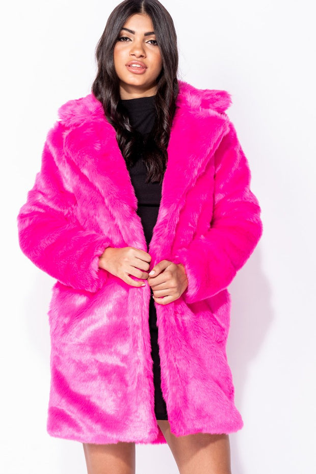 Image: Fuschia Mid Length Faux Fur Coat