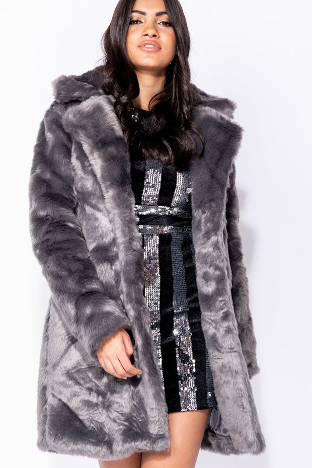 Image: Dark Grey Mid Length Faux Fur Coat