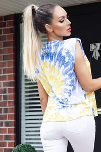 Blue Tie Dye Sleeveless Round Neck Top