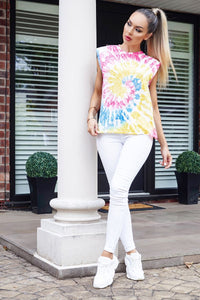 Pink Tie Dye Sleeveless Round Neck Top