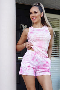 Pink Tie Dye Vest Top & Matching Runner Shorts Co Ord Set