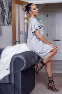 Grey Die For Dior T Shirt Dress