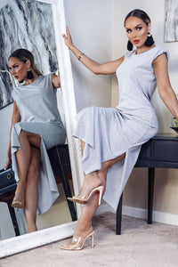 Grey  Shoulder Pad Side Slit Maxi Dress