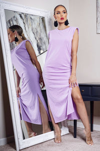 Lilac Shoulder Pad Side Slit Maxi Dress
