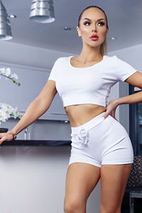 White Rib Crop T Shirt Top & Matching Runner Shorts Co Ord Set