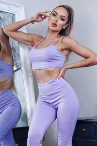 Lilac Crop Top & Matching Leggings Co Ord Loungewear Co Ord Set