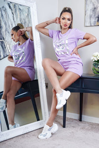 Lilac CG Slogan Print T-Shirt & Matching Shorts Loungewear Set