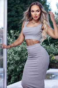 Grey Rib Crop Vest Top & Matching Maxi Skirt Lounge Suit