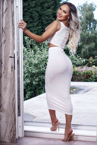 White Rib Crop Vest Top & Matching Maxi Skirt Lounge Suit