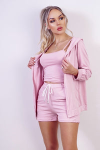Pink Hoody & Matching Vest Top & Short 3 Piece Lounge Set