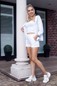 White Hoody & Matching Vest Top & Short 3 Piece Lounge Set