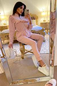Pink Frill Trim Top & Jogger Lounge Set