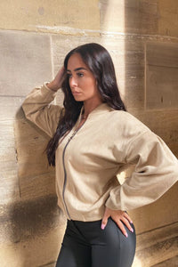 Beige Faux Suede Zip Front Pleat Sleeve Bomber Jacket