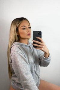 Grey Oversize Long Hooded Top