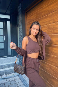 Brown 3 Piece Hoody & Jogger Lounge Set