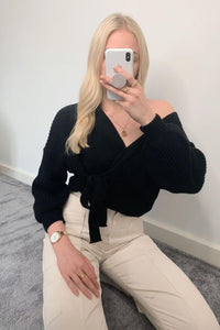 Black Wrap Front Belted Puff Sleeve Cropped Cardigan