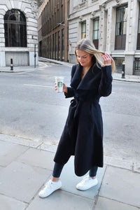 Black Maxi Length Oversized Belted Waterfall Coat