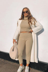 Beige Rib Knit Roll Neck & Legging  Lounge Set