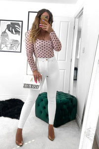 Pink Polka Dot Mesh Square Neck Bodysuit