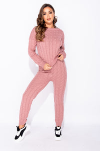 Rose Cable Knit Long Sleeve Cropped Top & Legging Lounge Set