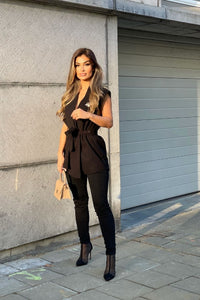 Black Wool Effect Edge To Edge Sleeveless Belted Blazer