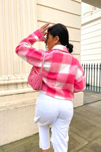 Pink Brushed Check Cropped Shacket