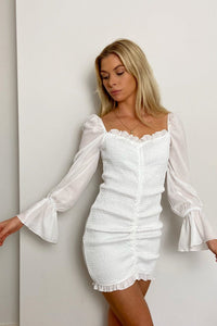 White Shirring Front Ruched Frill Hem Dress