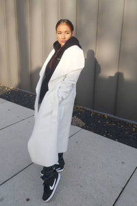 Off White Maxi Length Oversized Belted Waterfall Coat