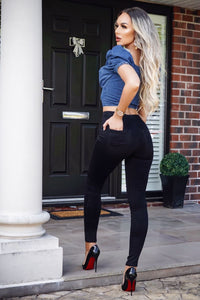 Black High Waisted Ripped Knee Jeggings