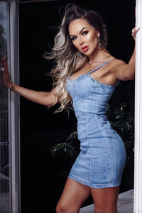 Light Blue Strappy Bodycon Denim Mini Dress