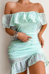Mint Dobby Fabric Frill Hem Bardot Mini Dress